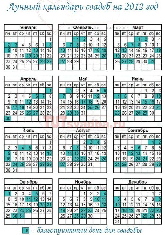 Весільний місячний календар на 2012 рік